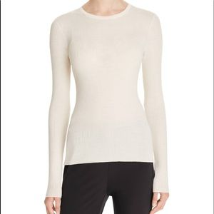 THEORY Ivory Merzi B Refine Flat Ribbed Sweater